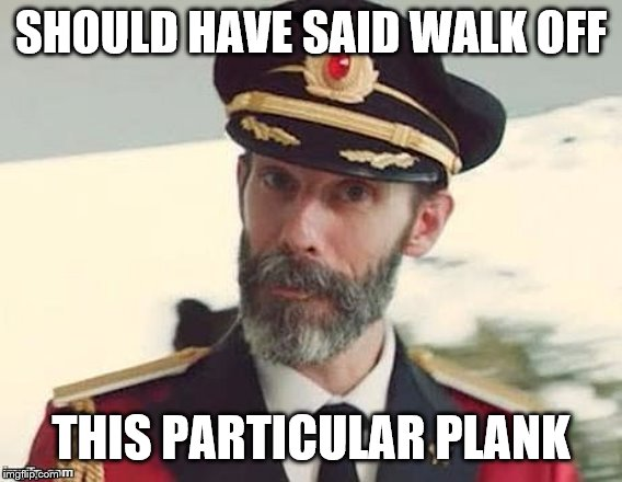 Captain Obvious | SHOULD HAVE SAID WALK OFF THIS PARTICULAR PLANK | image tagged in captain obvious | made w/ Imgflip meme maker