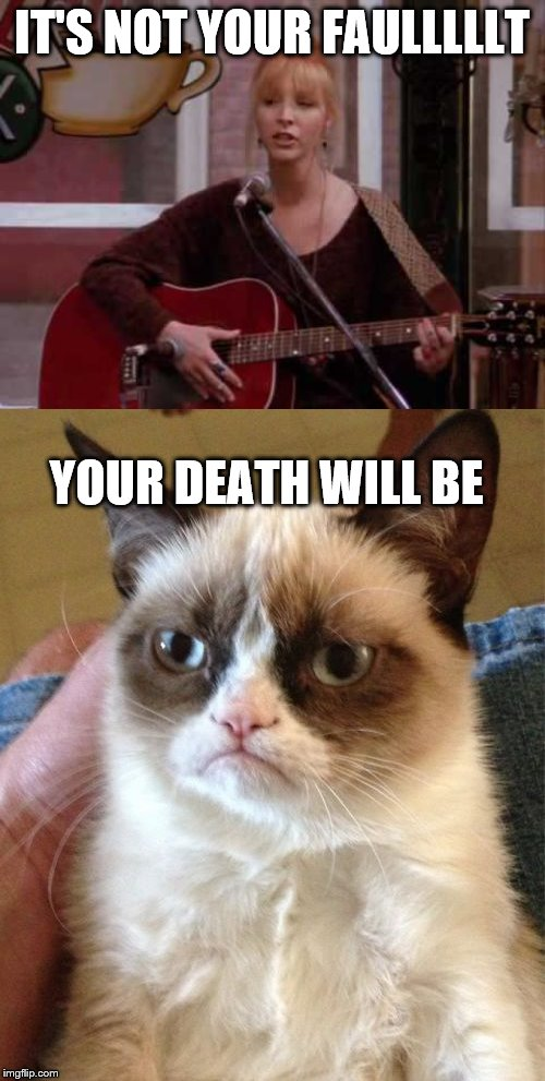 IT'S NOT YOUR FAULLLLLT YOUR DEATH WILL BE | image tagged in memes,grumpy cat,phoebe singing smelly cat | made w/ Imgflip meme maker