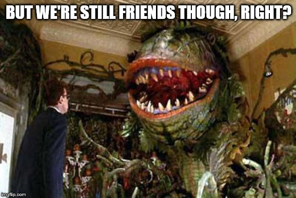 little shop of horrors | BUT WE'RE STILL FRIENDS THOUGH, RIGHT? | image tagged in little shop of horrors | made w/ Imgflip meme maker