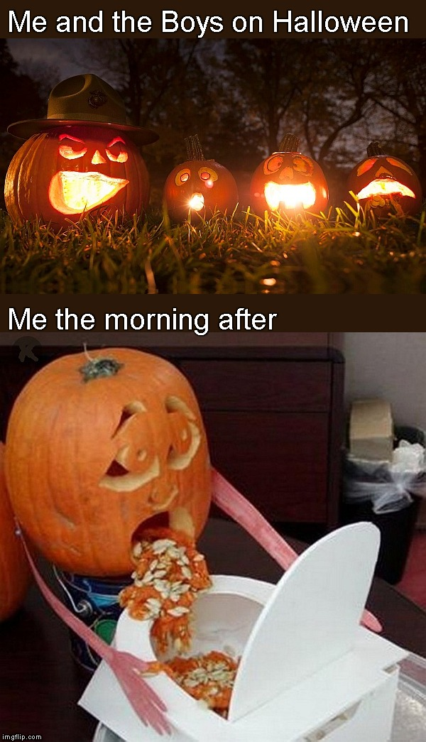 Hi there - I hope y'all out of the woods! | Me and the Boys on Halloween Me the morning after | image tagged in memes,halloween,pumpkins,the morning after,pumkin | made w/ Imgflip meme maker