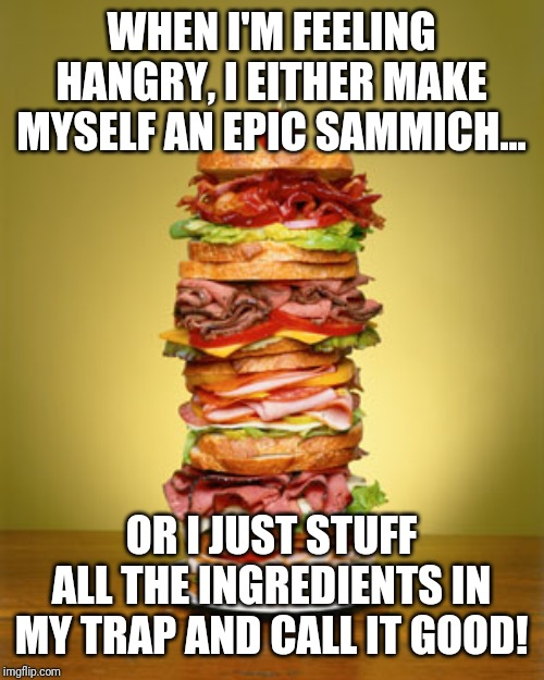 WHEN I'M FEELING HANGRY, I EITHER MAKE MYSELF AN EPIC SAMMICH... OR I JUST STUFF ALL THE INGREDIENTS IN MY TRAP AND CALL IT GOOD! | image tagged in hangry,food,lazy | made w/ Imgflip meme maker