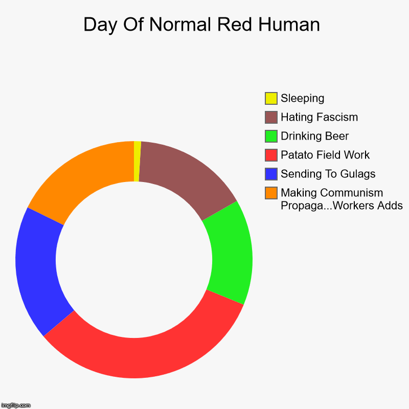 Day Of Normal Red Human | Making Communism Propaga...Workers Adds, Sending To Gulags, Patato Field Work, Drinking Beer, Hating Fascism, Slee | image tagged in charts,donut charts | made w/ Imgflip chart maker