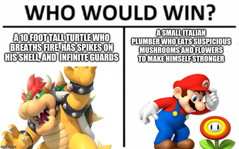 A 10 FOOT TALL TURTLE WHO BREATHS FIRE, HAS SPIKES ON HIS SHELL, AND  INFINITE GUARDS A SMALL ITALIAN PLUMBER WHO EATS SUSPICIOUS MUSHROOMS  | image tagged in who would win | made w/ Imgflip meme maker