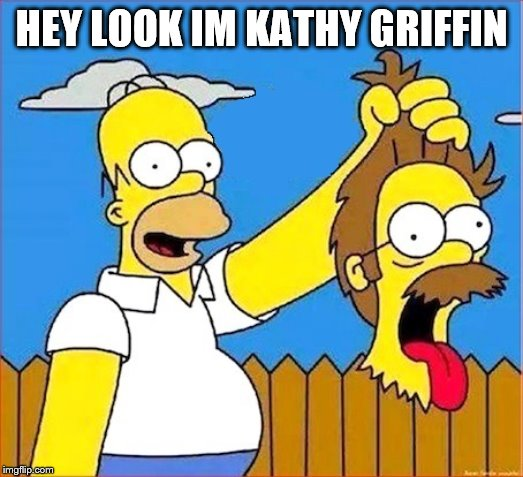 she no funny | HEY LOOK IM KATHY GRIFFIN | image tagged in homer cuts flanders' head upgraded | made w/ Imgflip meme maker