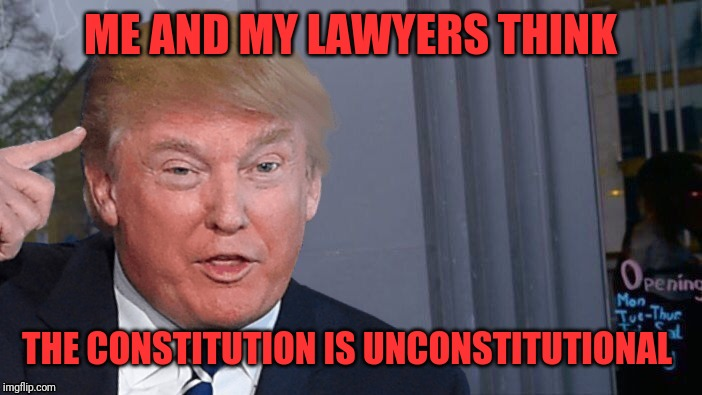Roll Trump think about it | ME AND MY LAWYERS THINK THE CONSTITUTION IS UNCONSTITUTIONAL | image tagged in roll trump think about it | made w/ Imgflip meme maker