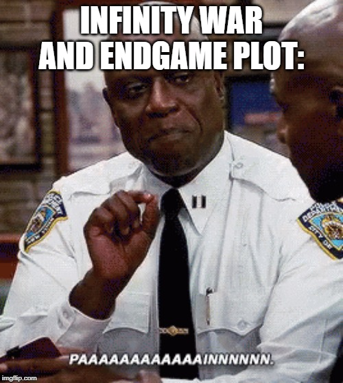 Pain | INFINITY WAR AND ENDGAME PLOT: | image tagged in infinity war,avengers endgame,captain holt,marvel,mcu | made w/ Imgflip meme maker