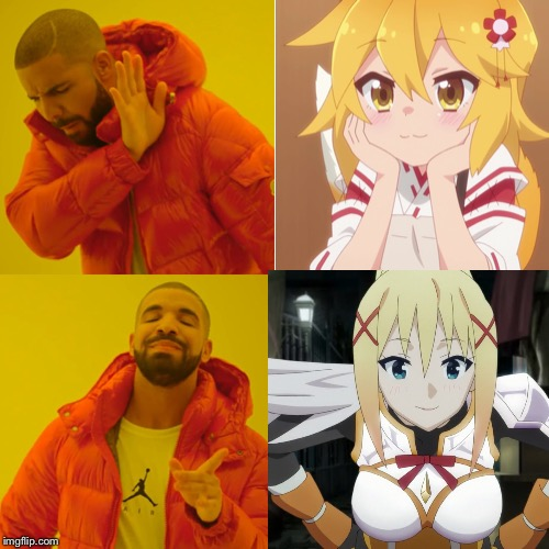 image tagged in memes,drake hotline approves,anime,konosuba,darkness | made w/ Imgflip meme maker