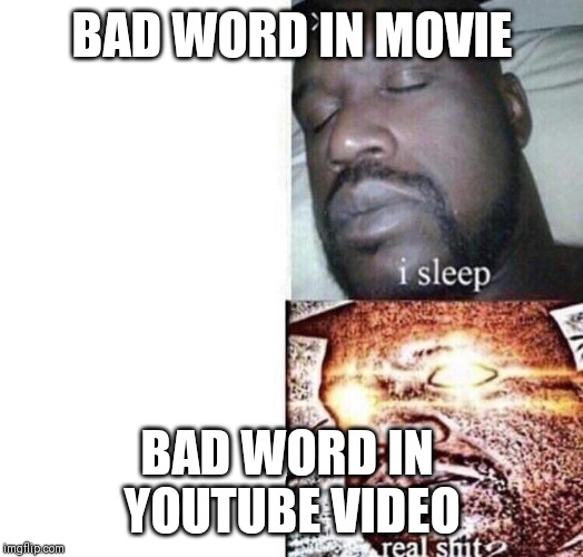 i sleep real shit |  BAD WORD IN MOVIE; BAD WORD IN  YOUTUBE VIDEO | image tagged in i sleep real shit | made w/ Imgflip meme maker