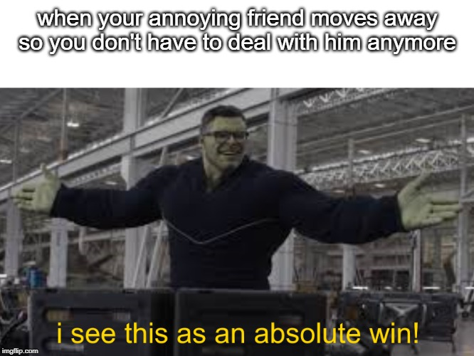 when your annoying friend moves away so you don't have to deal with him anymore | image tagged in endgame hulk i see this as an absolute win | made w/ Imgflip meme maker