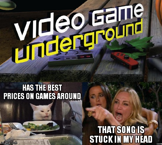 VGUG Theme song |  HAS THE BEST PRICES ON GAMES AROUND; THAT SONG IS STUCK IN MY HEAD | image tagged in vgug,video,game,underground,video game underground | made w/ Imgflip meme maker