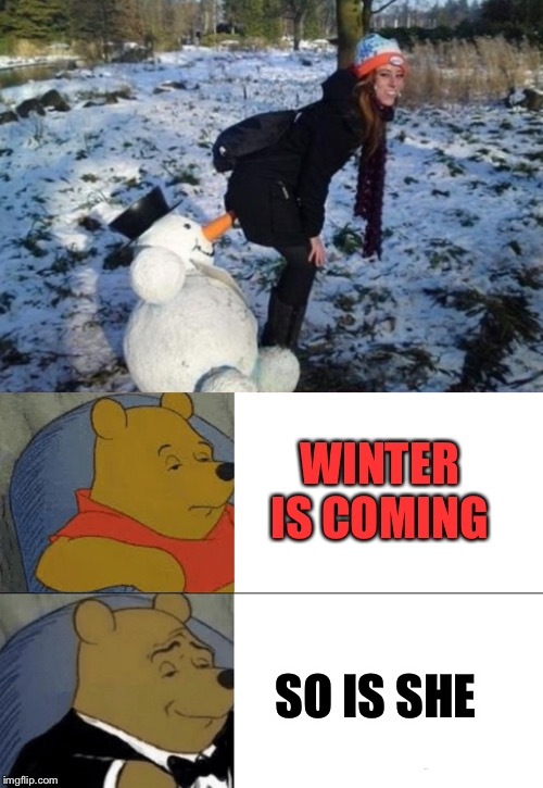 WINTER IS COMING SO IS SHE | image tagged in memes,tuxedo winnie the pooh | made w/ Imgflip meme maker