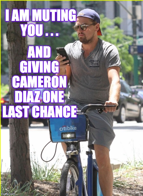 I AM MUTING YOU . . . AND GIVING CAMERON DIAZ ONE LAST CHANCE | made w/ Imgflip meme maker