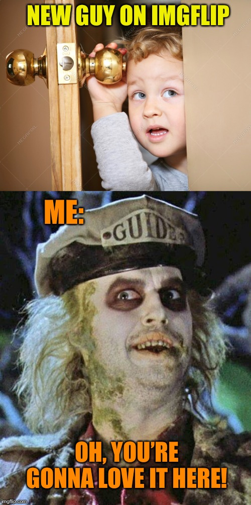 Down here we all float... | NEW GUY ON IMGFLIP OH, YOU'RE GONNA LOVE IT HERE! ME: | image tagged in welcome to imgflip,new,imgflippers,beetlejuice,funny memes | made w/ Imgflip meme maker