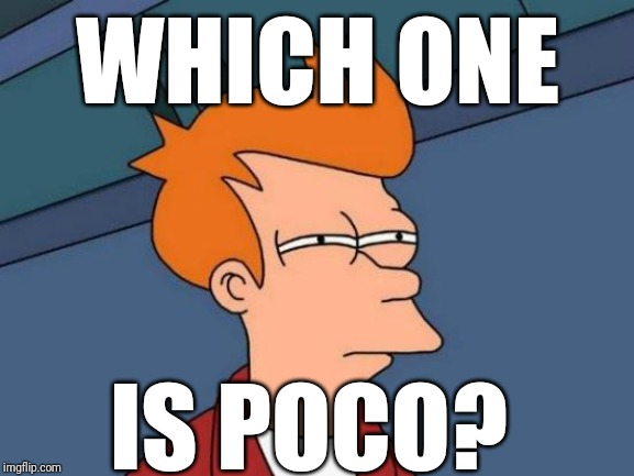 Futurama Fry Meme | WHICH ONE IS POCO? | image tagged in memes,futurama fry | made w/ Imgflip meme maker
