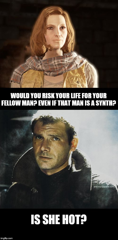 WOULD YOU RISK YOUR LIFE FOR YOUR FELLOW MAN? EVEN IF THAT MAN IS A SYNTH? IS SHE HOT? | image tagged in funny,fallout 4,blade runner | made w/ Imgflip meme maker