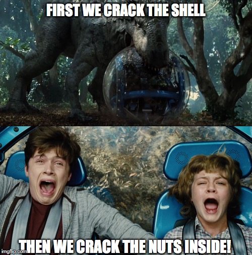 Nutcracker |  FIRST WE CRACK THE SHELL; THEN WE CRACK THE NUTS INSIDE! | image tagged in jurassic world,jurassic park,g1 transformers,dinosaur,nutcracker | made w/ Imgflip meme maker