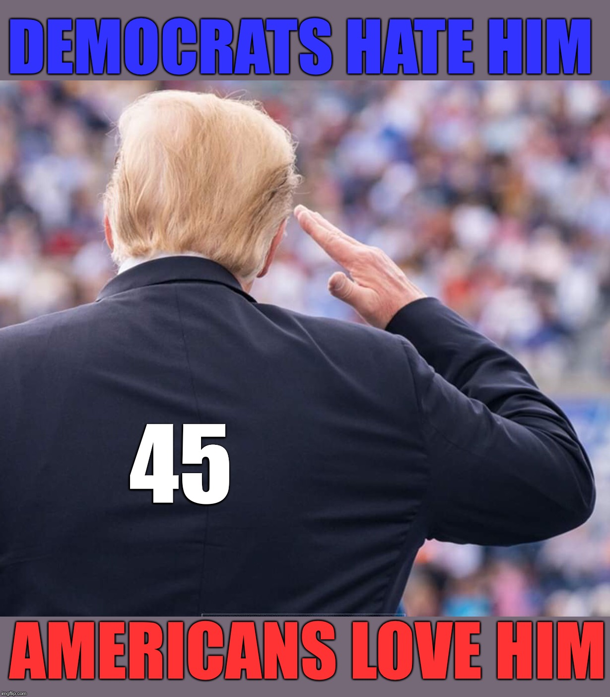 #45 | DEMOCRATS HATE HIM AMERICANS LOVE HIM 45 | image tagged in maga | made w/ Imgflip meme maker