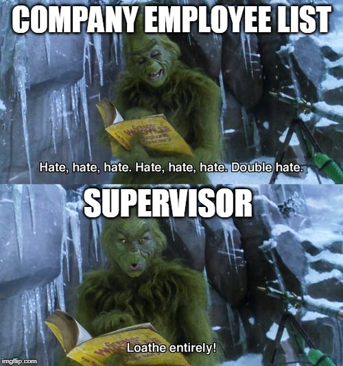 Me  at work | COMPANY EMPLOYEE LIST SUPERVISOR | image tagged in grinch,work,happy holidays,merry christmas | made w/ Imgflip meme maker