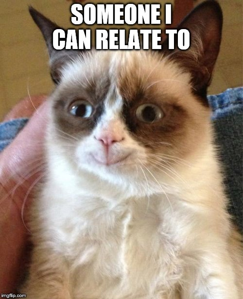 Grumpy Cat Happy Meme | SOMEONE I CAN RELATE TO | image tagged in memes,grumpy cat happy,grumpy cat | made w/ Imgflip meme maker