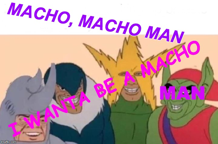 Clone Village People? | MACHO, MACHO MAN I WANTA BE A MACHO MAN | image tagged in memes,me and the boys,macho man,village people,remake,remix | made w/ Imgflip meme maker