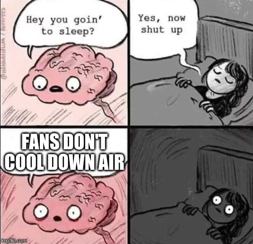 waking up brain | FANS DON'T COOL DOWN AIR | image tagged in waking up brain | made w/ Imgflip meme maker