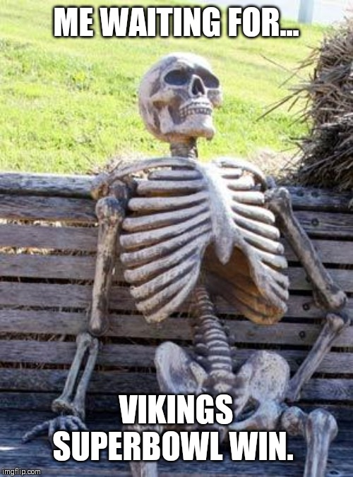 Waiting Skeleton Meme | ME WAITING FOR... VIKINGS SUPERBOWL WIN. | image tagged in memes,waiting skeleton | made w/ Imgflip meme maker
