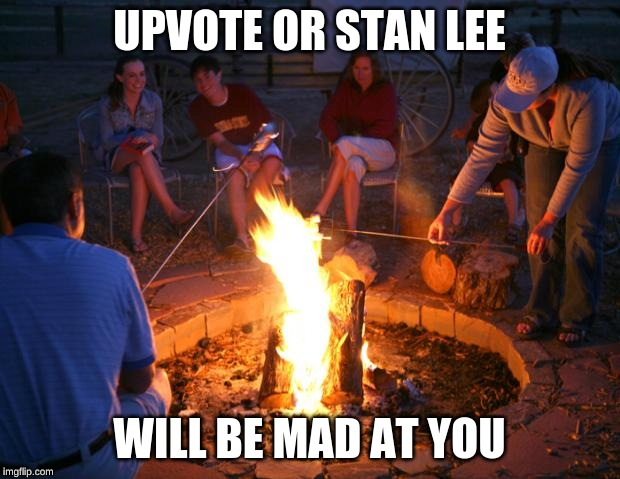 campfire | UPVOTE OR STAN LEE WILL BE MAD AT YOU | image tagged in campfire | made w/ Imgflip meme maker