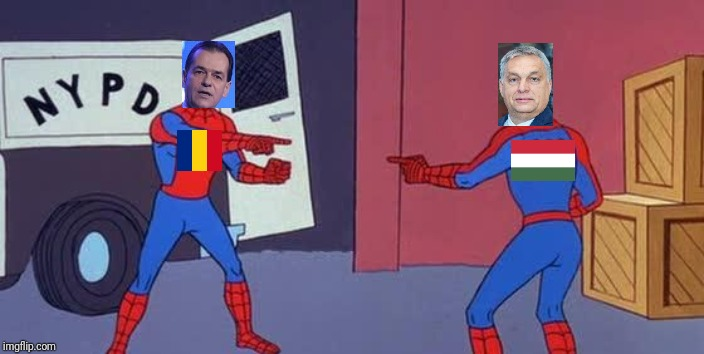 The Battle of Orbans | image tagged in memes,funny,prime minister,romania,hungary,spider man double | made w/ Imgflip meme maker
