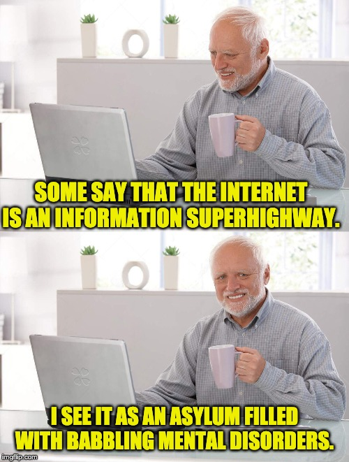 Old man cup of coffee | SOME SAY THAT THE INTERNET IS AN INFORMATION SUPERHIGHWAY. I SEE IT AS AN ASYLUM FILLED WITH BABBLING MENTAL DISORDERS. | image tagged in old man cup of coffee | made w/ Imgflip meme maker