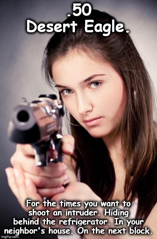 Girl with gun |  .50 Desert Eagle. For the times you want to shoot an intruder. Hiding behind the refrigerator. In your neighbor's house. On the next block. | image tagged in girl with gun | made w/ Imgflip meme maker