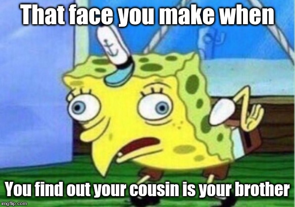 Mocking Spongebob | That face you make when You find out your cousin is your brother | image tagged in memes,mocking spongebob | made w/ Imgflip meme maker
