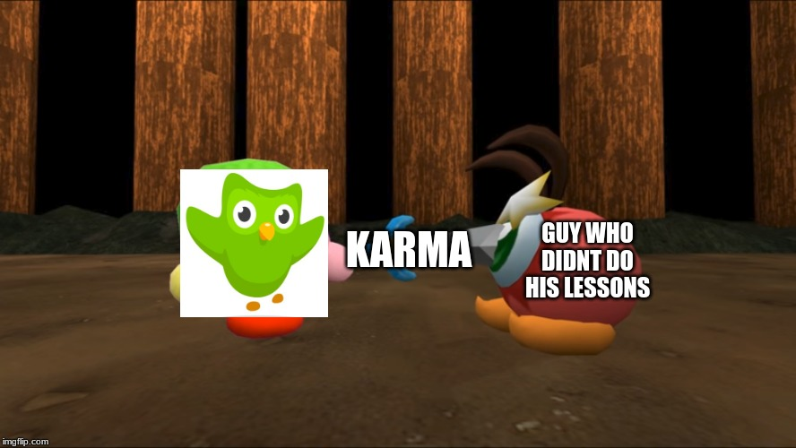 Kirby Stabs Waddle Doo | KARMA GUY WHO DIDNT DO HIS LESSONS | image tagged in kirby stabs waddle doo | made w/ Imgflip meme maker