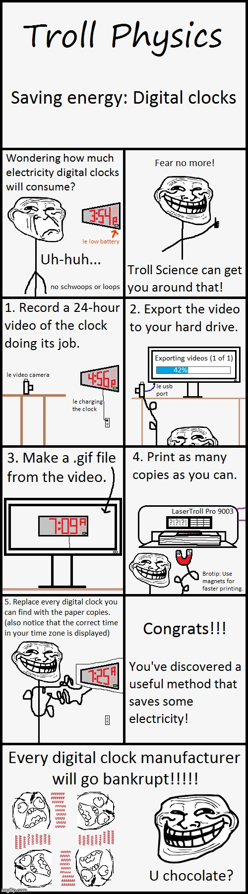 Troll Physics: Save Digital Energy | image tagged in memes,troll physics,troll science,clock,digital,save energy | made w/ Imgflip meme maker
