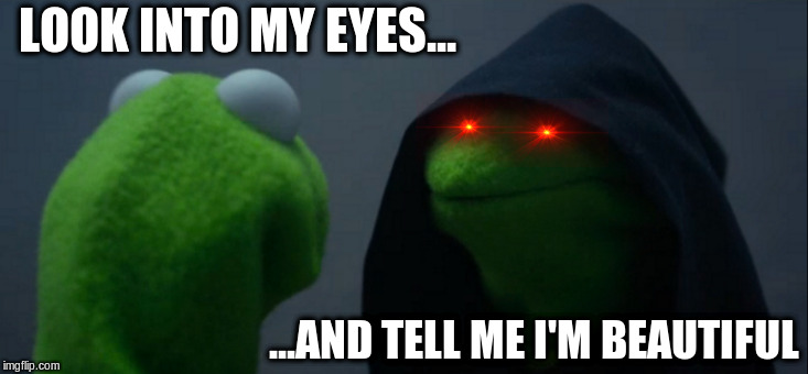 Evil Kermit Meme | LOOK INTO MY EYES... ...AND TELL ME I'M BEAUTIFUL | image tagged in memes,evil kermit | made w/ Imgflip meme maker