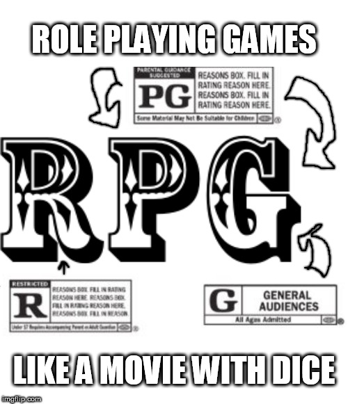 RPG Movie Ratings | ROLE PLAYING GAMES LIKE A MOVIE WITH DICE | image tagged in rpg,role playing games,movie ratings,dice | made w/ Imgflip meme maker