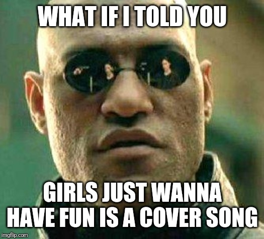 What if i told you | WHAT IF I TOLD YOU GIRLS JUST WANNA HAVE FUN IS A COVER SONG | image tagged in what if i told you | made w/ Imgflip meme maker