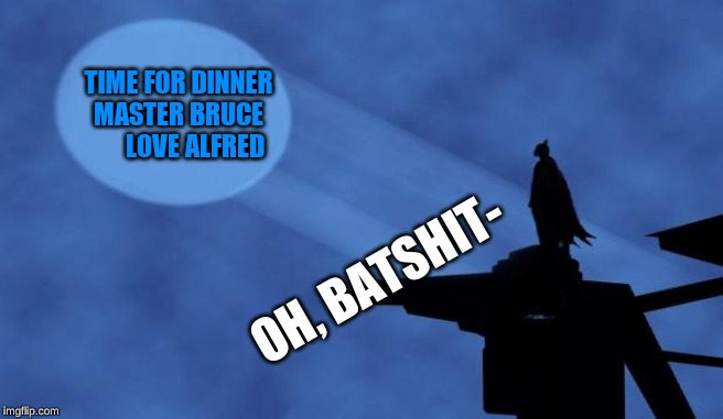 batman signal | TIME FOR DINNER MASTER BRUCE       LOVE ALFRED OH, BATSHIT- | image tagged in batman signal | made w/ Imgflip meme maker