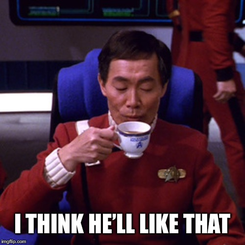 Sulu sipping tea | I THINK HE'LL LIKE THAT | image tagged in sulu sipping tea | made w/ Imgflip meme maker