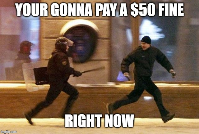 Police Chasing Guy | YOUR GONNA PAY A $50 FINE RIGHT NOW | image tagged in police chasing guy | made w/ Imgflip meme maker