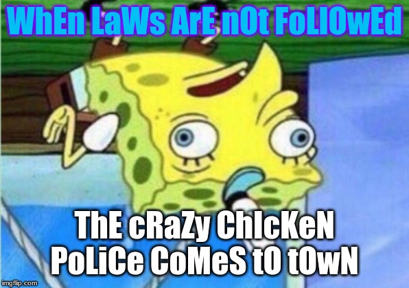 Mocking Spongebob Meme | WhEn LaWs ArE nOt FoLlOwEd ThE cRaZy ChIcKeN PoLiCe CoMeS tO tOwN | image tagged in memes,mocking spongebob | made w/ Imgflip meme maker