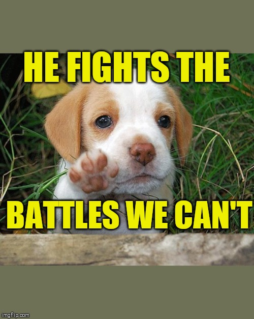 dog puppy bye | HE FIGHTS THE BATTLES WE CAN'T | image tagged in dog puppy bye | made w/ Imgflip meme maker