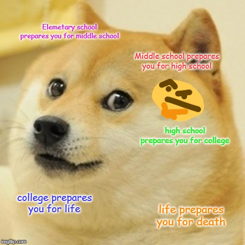 Doge |  Elemetary school prepares you for middle school; Middle school prepares you for high school; high school prepares you for college; college prepares you for life; life prepares you for death | image tagged in memes,doge | made w/ Imgflip meme maker