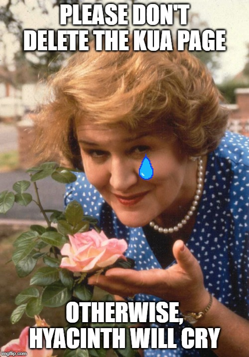 Keeping up appearances  | PLEASE DON'T DELETE THE KUA PAGE OTHERWISE, HYACINTH WILL CRY | image tagged in keeping up appearances | made w/ Imgflip meme maker