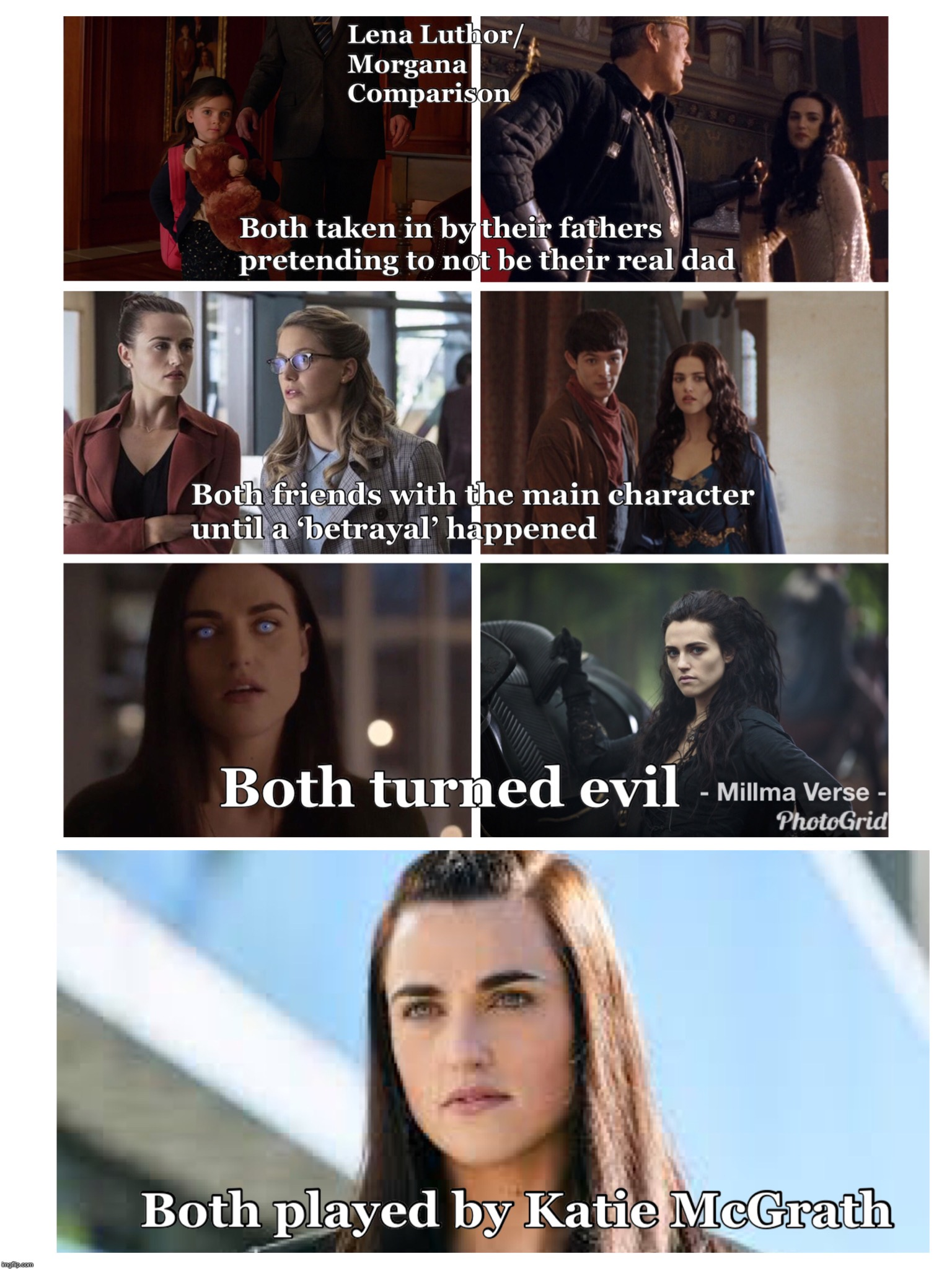 Lena Luthor/Morgana Comparisons | image tagged in supergirl,arrowverse,lena luthor,morgana,merlin | made w/ Imgflip meme maker