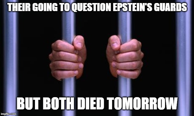 Prison Bars | THEIR GOING TO QUESTION EPSTEIN'S GUARDS BUT BOTH DIED TOMORROW | image tagged in prison bars,funny memes,epstein,clinton,witness | made w/ Imgflip meme maker
