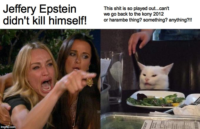 Woman Yelling At Cat Meme | Jeffery Epstein didn't kill himself! This shit is so played out...can't we go back to the kony 2012 or harambe thing? something? anything?!! | image tagged in memes,woman yelling at a cat,epstien,kony,hrambe | made w/ Imgflip meme maker
