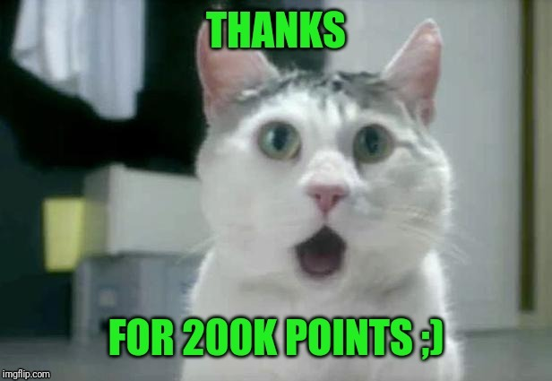 Thanks for 200000 points! | image tagged in omg cat,memes,thanks,points,upvotes | made w/ Imgflip meme maker