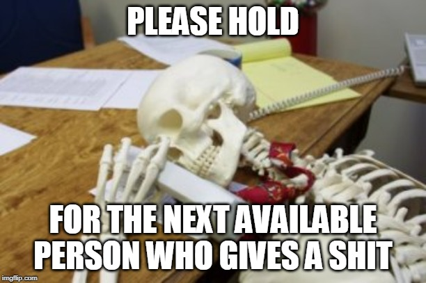 PLEASE HOLD FOR THE NEXT AVAILABLE PERSON WHO GIVES A SHIT | image tagged in skeleton on hold | made w/ Imgflip meme maker