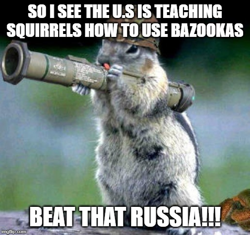Bazooka Squirrel Meme |  SO I SEE THE U.S IS TEACHING SQUIRRELS HOW TO USE BAZOOKAS; BEAT THAT RUSSIA!!! | image tagged in memes,bazooka squirrel | made w/ Imgflip meme maker