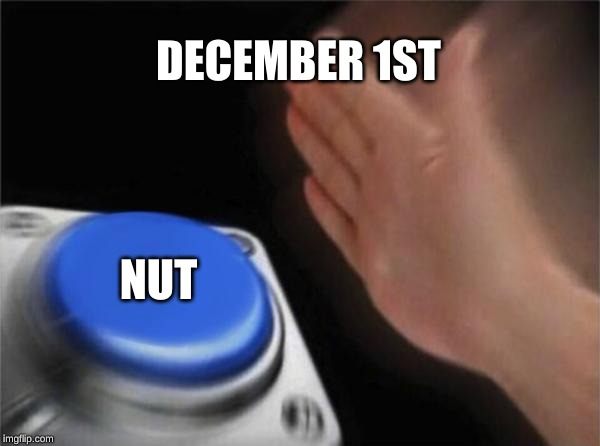 Blank Nut Button Meme | DECEMBER 1ST NUT | image tagged in memes,blank nut button | made w/ Imgflip meme maker